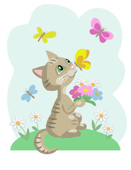 Kitten with chamomiles and butterflies on blue background. Vector cartoon illustration.