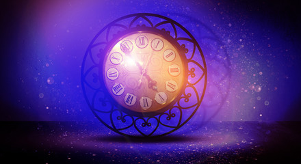 Clock vintage on an abstract background bokeh, neon, fulfillment of desires, magic of time