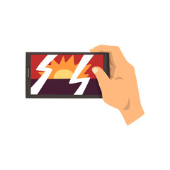 Hand making smartphone photo of sunset, snapshot with smartphone vector Illustration on a white background