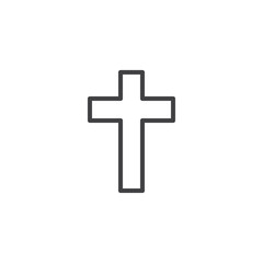 Religion Cross outline icon. linear style sign for mobile concept and web design. Christian cross simple line vector icon. Symbol, logo illustration. Pixel perfect vector graphics