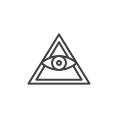 All seeing eye pyramid outline icon. linear style sign for mobile concept and web design. Mason Pyramid eye simple line vector icon. Freemason and spiritual symbol, logo illustration. Pixel perfect