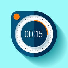 Stopwatch icon in flat style, round timer on color background. 15 seconds. Sport clock. Vector design element for you business project