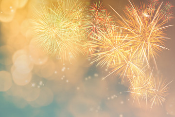 Time for celebration..Firework display in multi colour and soft light bokeh..