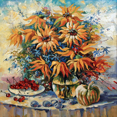 Artistic work. Still life with sunflowers. Decorative and textured technique on canvas.
