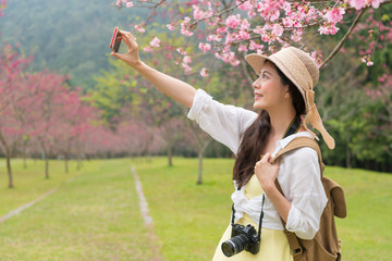 woman takes selfies under the cherry tree