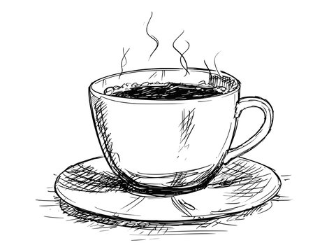 Vector artistic pen and ink sketch drawing illustration of coffee cup or mug.