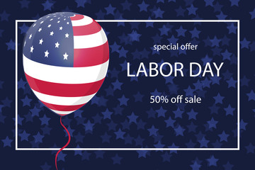 Happy Labor Day background with USA flag on baloon.