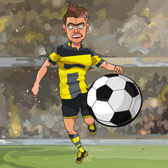cartoon football player running for the ball