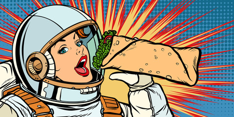 Hungry woman astronaut eating kebab Doner Shawarma