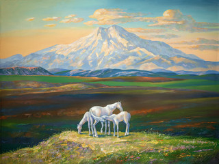 An oil painting on canvas. Horses in the background of Elbrus. Sunset in the mountains of the Caucasus. Author: Nikolay Sivenkov.