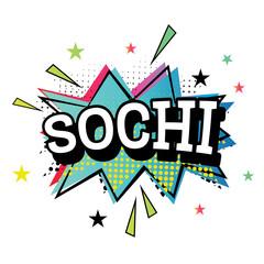 Sochi Comic Text in Pop Art Style.