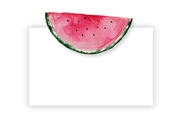 Square watercolor template with watermelon and place for text.