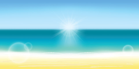 Summer background vector illustration. Blurred summer beach, sun, sky, sea, ocean and sand landscape for background and wallpaper