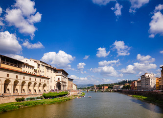 Florence cityscape with Arno River embankment Vasari Corridor and Uffizi Gallery Tuscany Italy