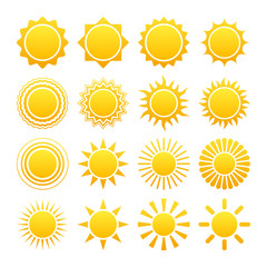 Set of vector sun icons. 16 different solar logos.