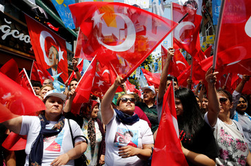 Supporters of Meral Aksener, Iyi (Good) Party leader, attend an election rally in Istanbul