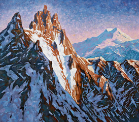 Mountain peaks of the Caucasus at the early dawn, the peak of Shkhelda against the background of Mount Elbrus. Painting: canvas, oil. Author: Nikolay Sivenkov.