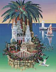 Sochi is a city of palm tree, the architectural image of sights. An oil painting on canvas. Author: Nikolay Sivenkov.