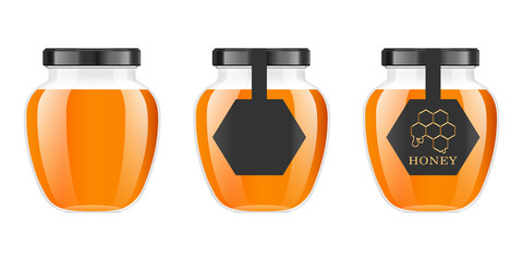 Realistic transparent glass jar with honey. Food bank. Honey packaging design. Honey logo. Mock up glass jar with design label or badges. Premium food product. Vector illustrations.