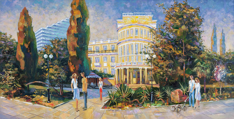 People walk along the embankment. Architectural landscape of the beloved city of Sochi. Painting: canvas, oil. Author: Nikolay Sivenkov.