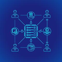 blockchain distributed ledger technology illustration.