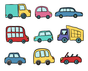 Big set of hand drawn cute cartoon cars for kids design. Vector illustration for wrapping, package, poster, web design, kids fabric, textile, nursery wallpaper. Set of cartoon cars, truck, bus
