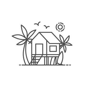 Beach house vector illustration outline style