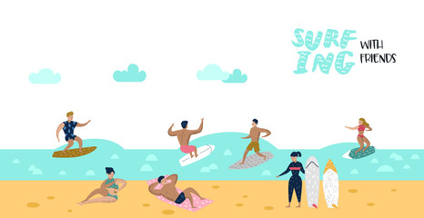 Characters People Surfing at the Beach Poster, Banner, Brochure. Man and Woman Cartoon Surfers. Water Sport Concept. Vector illustration