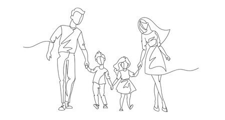 Continuous Line Parents Walking with Children. One Line Happy Family. Contour People Outdoor. Parenting Characters. Vector illustration