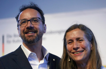 The newly appointed artistic director of the Berlin International Film Festival Berlinale, Carlo Chatrian and newly appointed managing director of the Festival Mariette Rissenbeek are seen after the announcement in in Berlin
