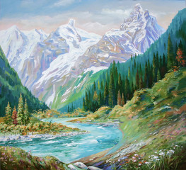 The Teberda River in the Gorge of the Caucasus Mountains. Painting: canvas, oil.