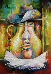 Rustic still life is completed in the form of a face. Painting: canvas, oil. Author: Nikolay Sivenkov.