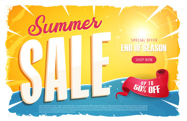 Hot Summer Sale Banner/ Illustration of a summer sale template banner with colorul elements, typography and grunge frame