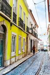 Lisbon, Portugal.- February 11, 2018: Street view of downtown in Lisbon, Portugal, Europe