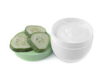Face cream with cucumber extract with fresh cucumbers on a white background. isolated