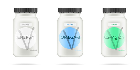 White matte plastic bottle with black lid for vitamins, tablets, pills. Realistic packaging mockup template with sample design. Medical container. Front view. Vector illustration.