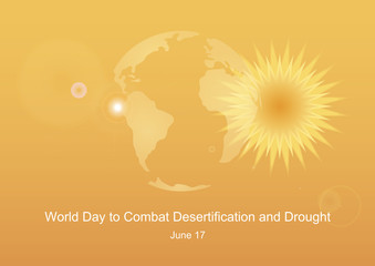 World Day to Combat Desertification and Drought vector. Ecological disaster vector illustration. Overheated planet Earth picture. Superheated planet Earth. Image of Global Warming. Important day
