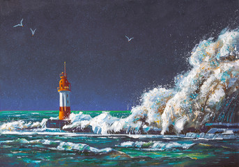 A large squall of wave envelopes the Lighthouse during the storm. Painting: canvas, oil. Author: Nikolay Sivenkov.