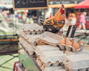 Egg cartons in French open air market