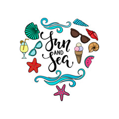 Sun and sea. brush pen lettering. hand drawn cartoon summer symbol and objects design for holiday greeting card and invitation of seasonal summer holidays, summer beach parties, tourism and travel.