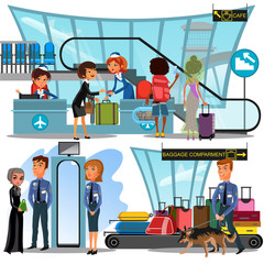 Check in airport with lady on counter and man and woman passengers with luggage vector illustration, check in passport documents before people flight to vacation, departure gate and baggage belt