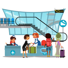 Check in airport with lady on counter and man and woman passengers with luggage vector illustration, check in baggage passport documents before people flight to vacation
