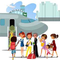 People climb ladder aboard plane, landing men and women on airplane at airport vector illustration, passengers with bags and suitcase sut go up stairs to aircraft