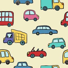 Seamless pattern of hand drawn cute cartoon cars for kids design. Vector illustration wrapping, package, poster, web design, kids fabric, textile, nursery wallpaper. Set of cartoon cars, truck, bus