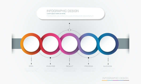Vector Infographic 3d circle label template design.Infograph with 6 number options or steps. Infographic element for layout, process diagram, parts, chart, graphic, info graph, flowchart, presentation