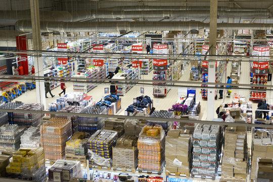 Kharkiv/Ukraine - March 01 2017: Supermarket and hypermarket warehouses