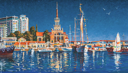 Yachts on the background of the seaport of Sochi on a clear day. Painting: canvas, oil. Author: Nikolay Sive