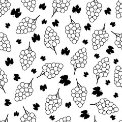 Seamless pattern with black and white grapes on the white background.
