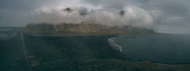 panorama view of stokksnes and vestrahorn in iceland