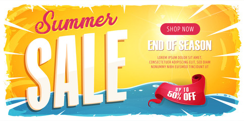 Summer Sale Wide Banner/ Illustration of a wide summer sale template banner with colorul elements, typography and grunge frame